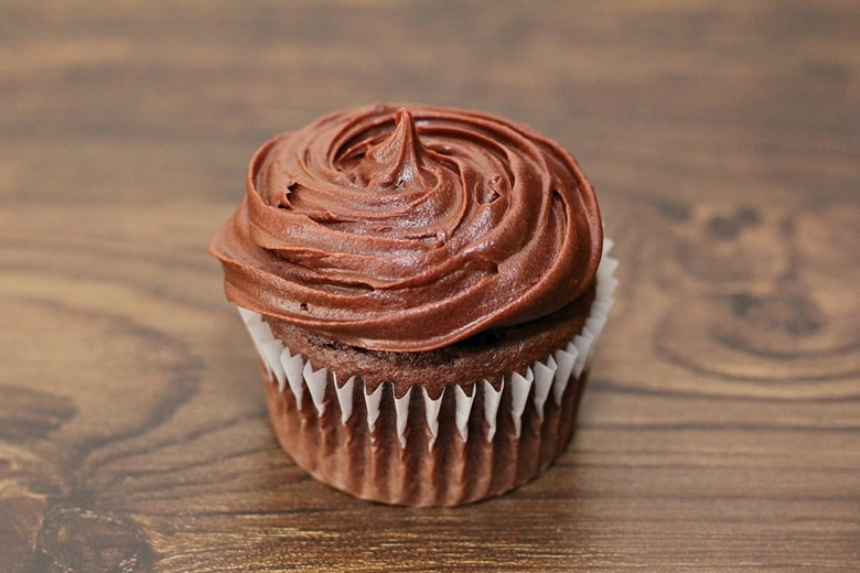 Chocolate cupcake with chocolate icing