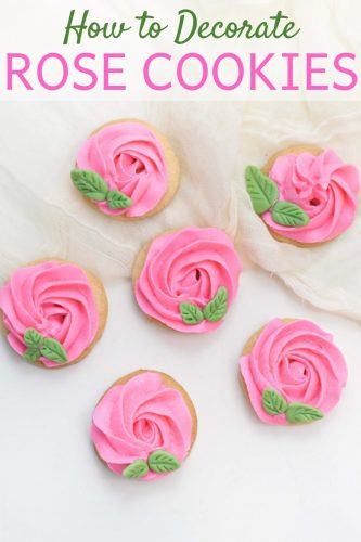 Learn how to decorate rose cookies using fondant and homemade buttercream icing. These beautiful pink rose sugar cookies are great for weddings, showers, or Valentine's Day.