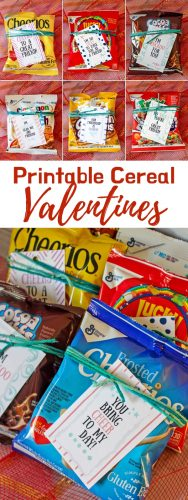 Use the provided free printable cereal valentine tags to make fun valentines to hand out to the kids in the classroom. Available with 8 different sayings!
