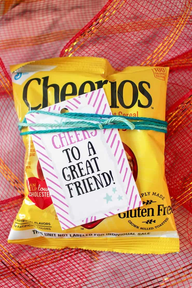 Cheers to a great friend label on bag of Cheerios
