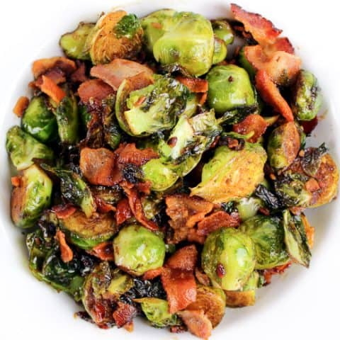 Brussel sprouts with bacon and balsamic reduction makes a delicious and easy side dish. These are seriously the best brussel sprouts ever.