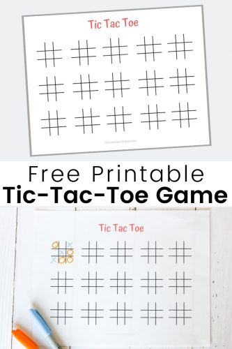 Use this free printable tic tac toe game board for a fun family game night!