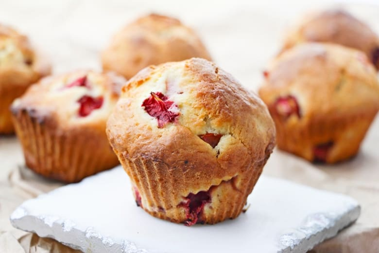 A sweet and fluffy homemade strawberry muffins recipe, made from scratch using fresh strawberries.A sweet and fluffy homemade strawberry muffins recipe, made from scratch using fresh strawberries.