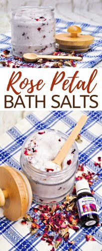 Enjoy these easy 5-ingredient DIY Rose Petal Bath Salts yourself, or make them as a nice homemade gift for the bath lover in your life.