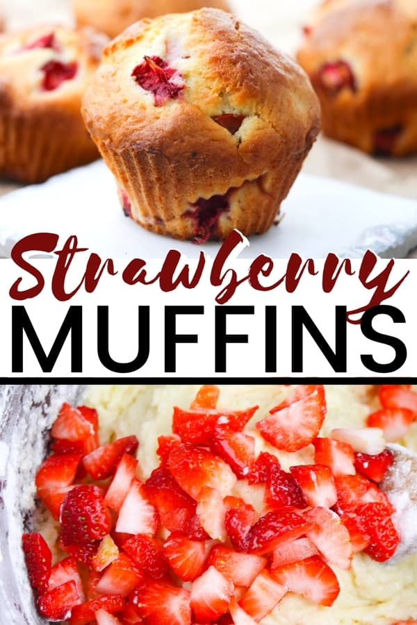 A sweet and fluffy homemade strawberry muffins recipe, made from scratch with chunks of fresh strawberries.