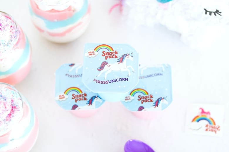 Unicorn Snack Pack Pudding Parfaits