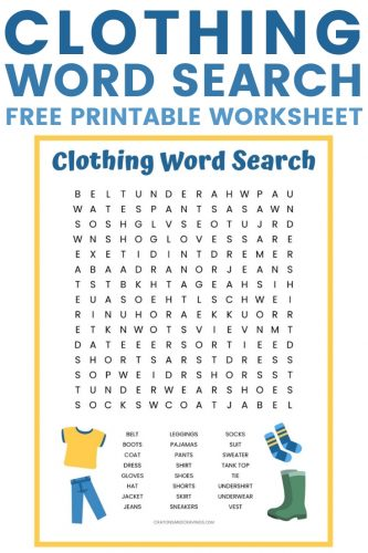A free clothing word search printable with 24 words for different types of clothes to find such as shirt, dress, shoes, jacket, and shoes.