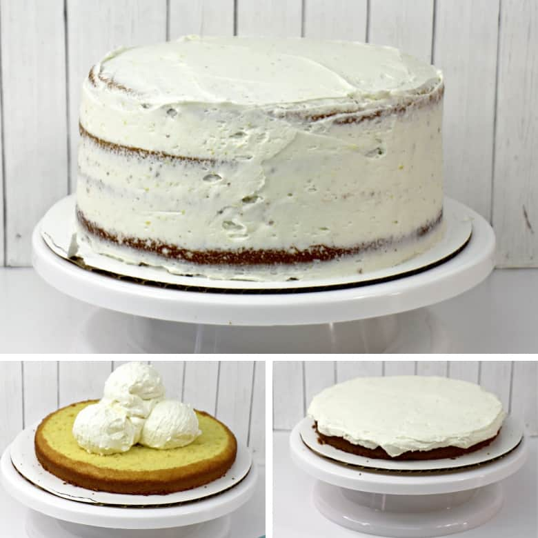 3-image collage of how to make a tiered layer cake