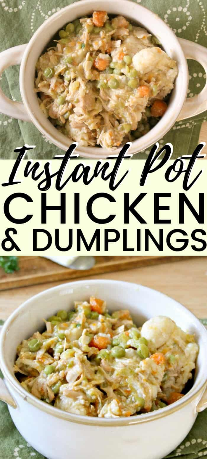 This easy Instant Pot chicken and dumplings recipe is made with canned biscuits and perfect for when you need a bit of comfort food on a busy weeknight.