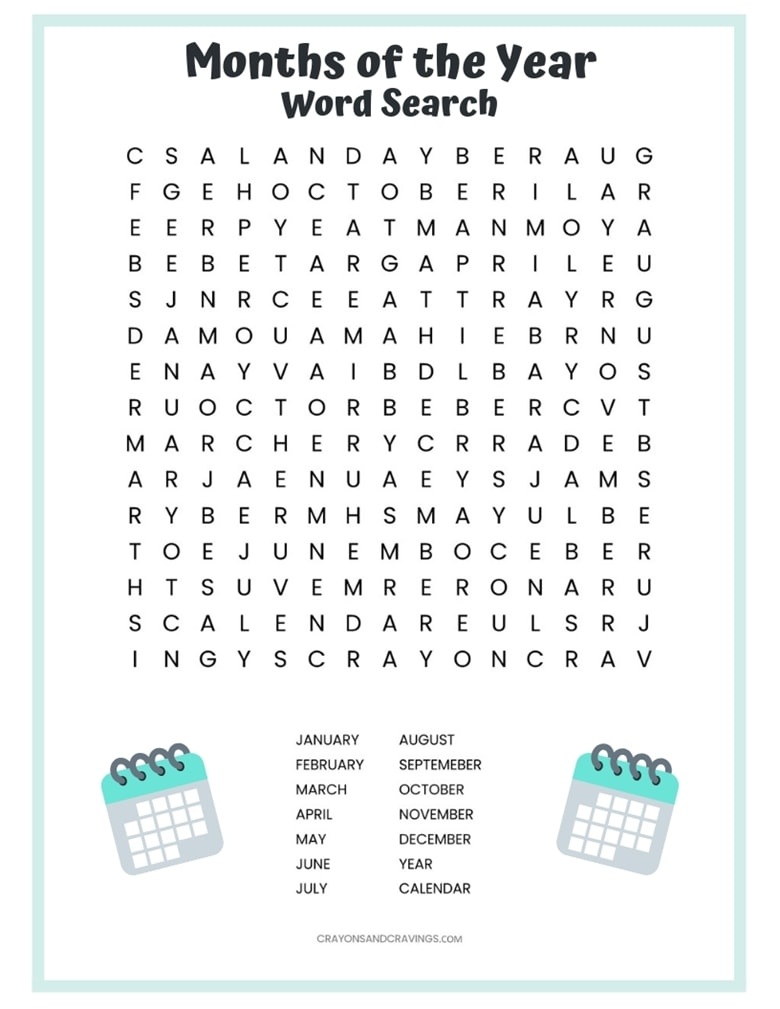 image about Months of the Year Printable named Weeks of the 12 months Term Glimpse Free of charge Printable for Small children