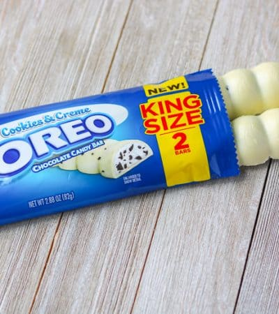 OREO Cookies & Crème King Size Chocolate Bar unwrapped