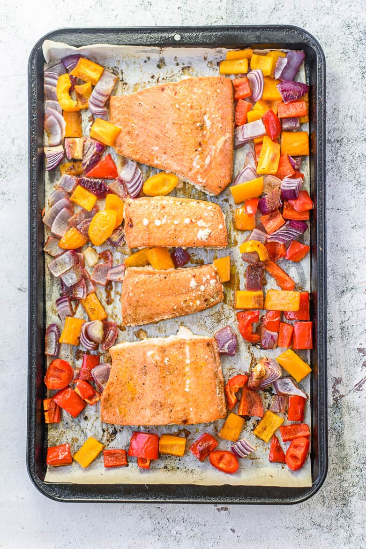 Chili lime salmon and veggies on sheet pan
