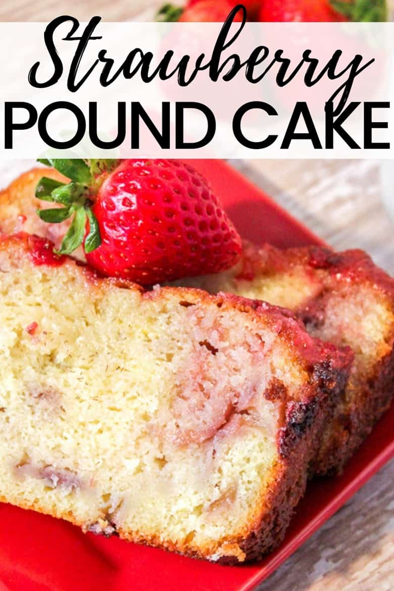 The Greek yogurt combines with bits of fresh fresh strawberries to give this homemade strawberry pound cake it's moist texture and delicious flavor.