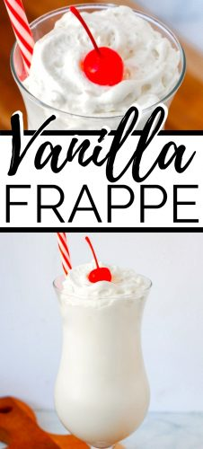Two images of the vanilla frappe in a glass with a cherry and straw coming out of the top.