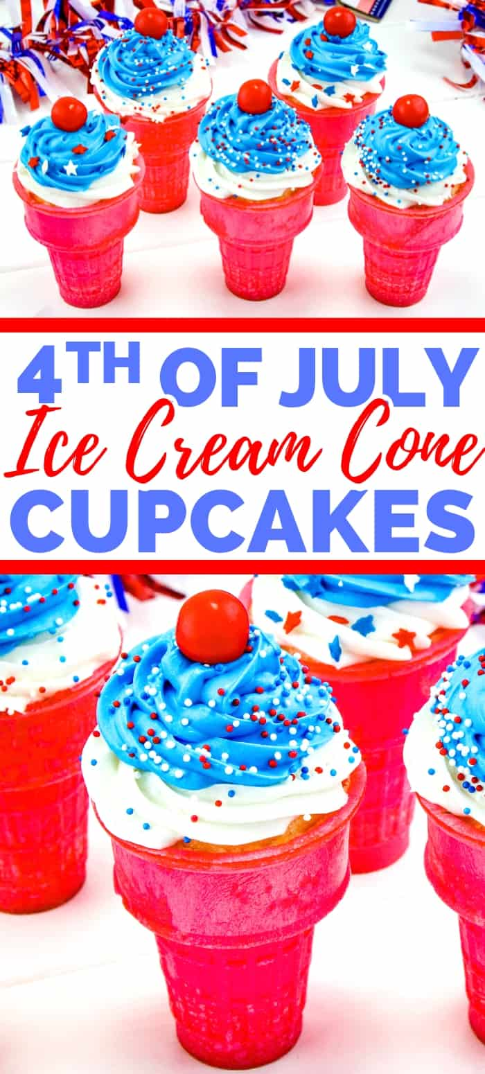 Share 4th of July Ice Cream Cone Cupcakes on Pinterest
