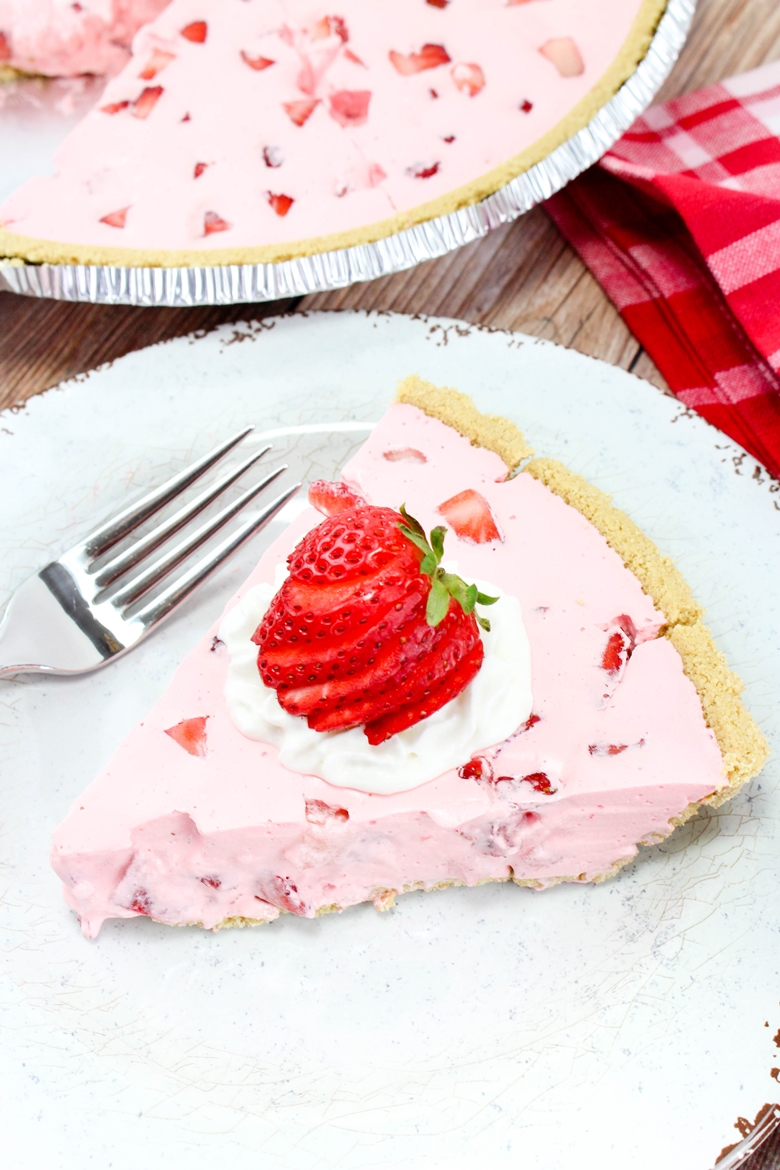 Pink Jello Pie with Cool Whip and Strawberries