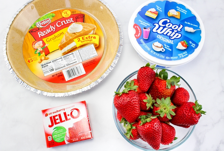 Keebler Graham Ready Crust, Cool Whip, fresh strawberries, Strawberry Jello