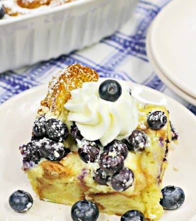 A slice of Blueberry Croissant Breakfast Casserole