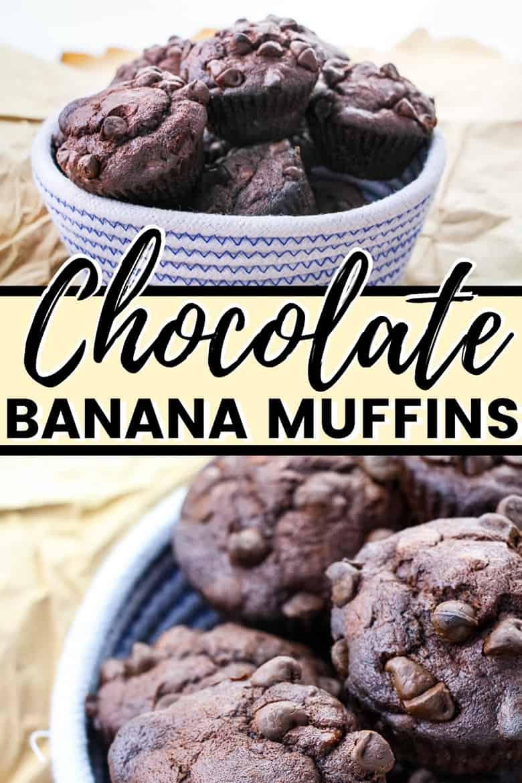 Chocolate banana muffins Pinterest image