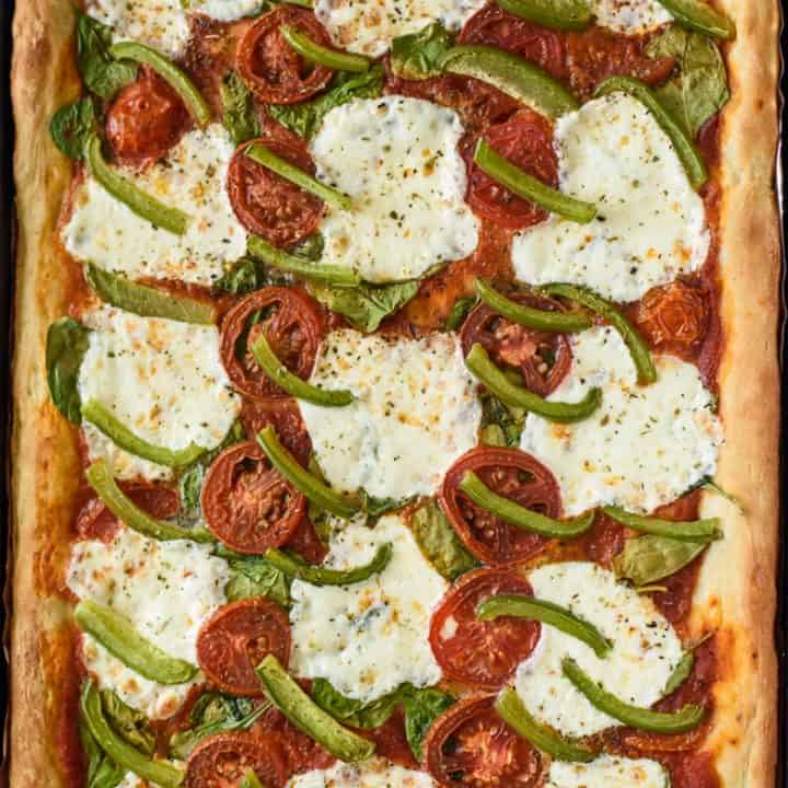 Sheet Pan Pizza with spinach, mozzarella, and peppers