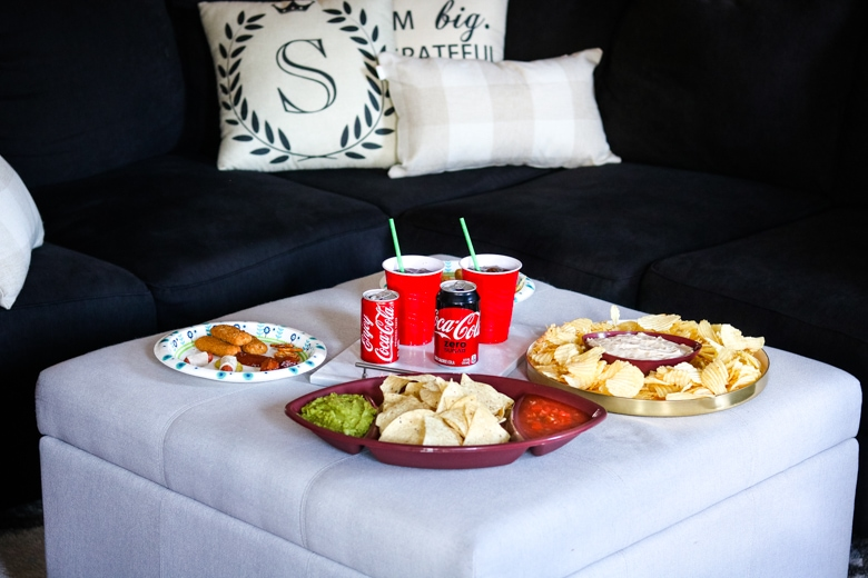 Football Party Snacks and Drinks on Ottoman