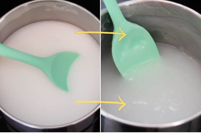 Ingredients turn from solid white liquid to translucent thick goopy substance