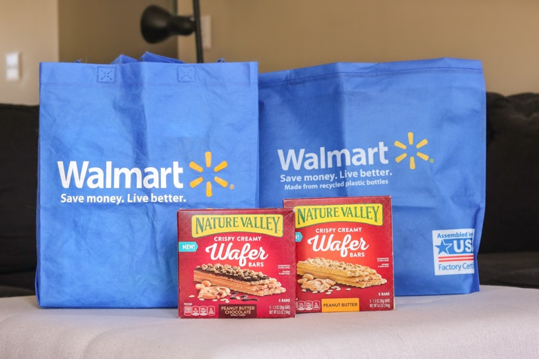 Nature Valley Wafer Bars and Walmart shopping bags