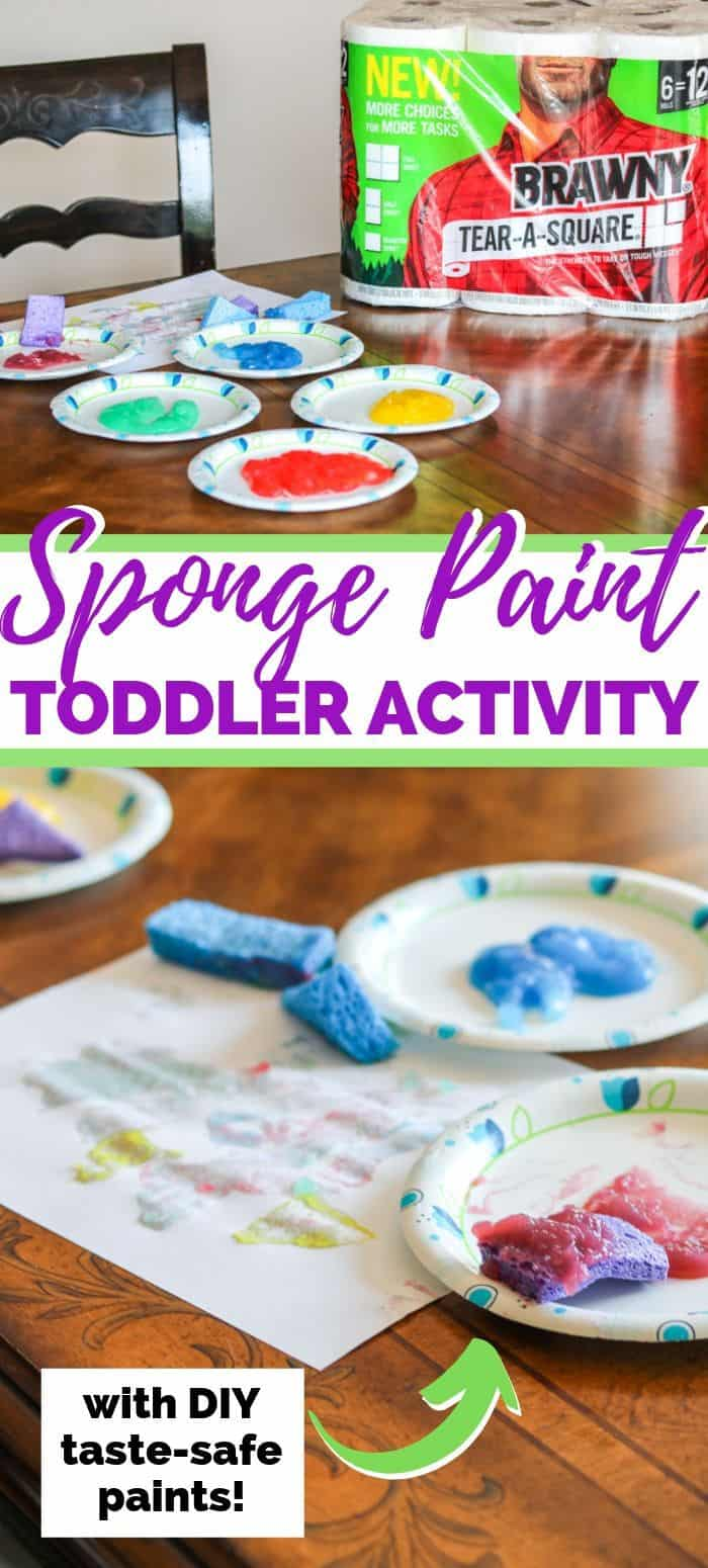 Sponge paint toddler art project - a fun toddler process art activity using homemade taste-safe paints with supplies from your pantry.