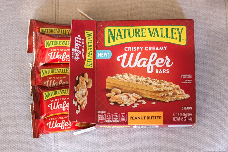 Nature Valley Wafer Bars coming out of box in individually wrapped bags