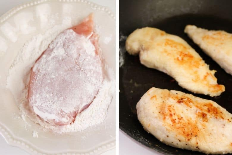Left: Chicken breast dipped in flour. Right: 3 browned chicken breasts in skillet.