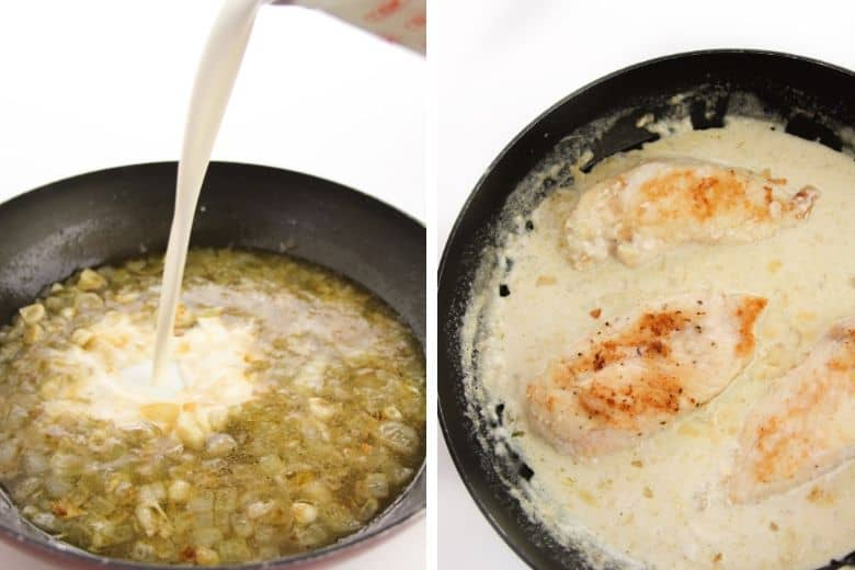 Left: Cream being poured into skillet. Right: Chicken in skillet with creamy sauce.