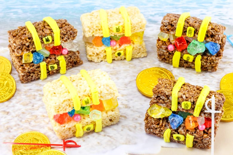 Edible pirate treasure chest treats are easy to make and perfect for pirate-themed parties and Talk Like a Pirate Day.