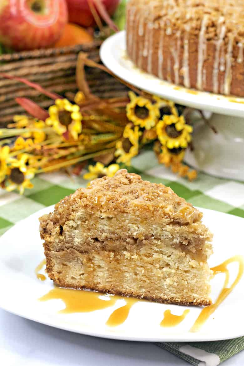 Apple Crumb Cake Recipe with Salted Caramel Sauce