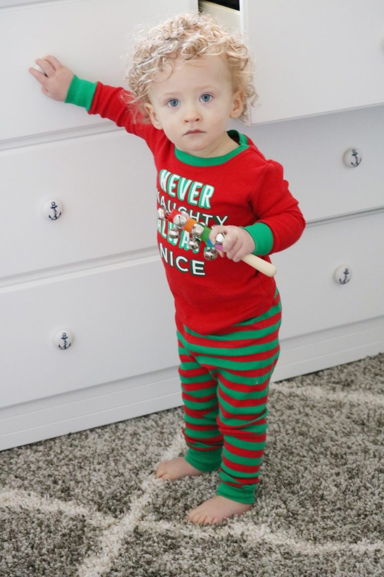 Toddler in Red and Green Christmas Pajamas