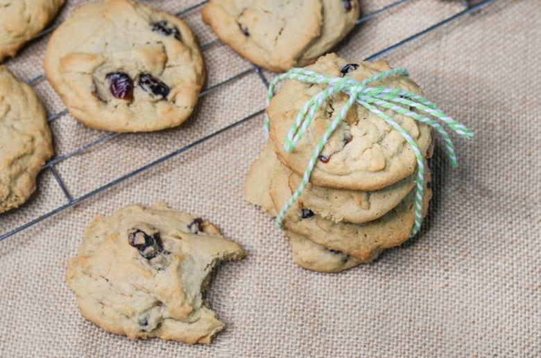 cranverry cookies tied with twine
