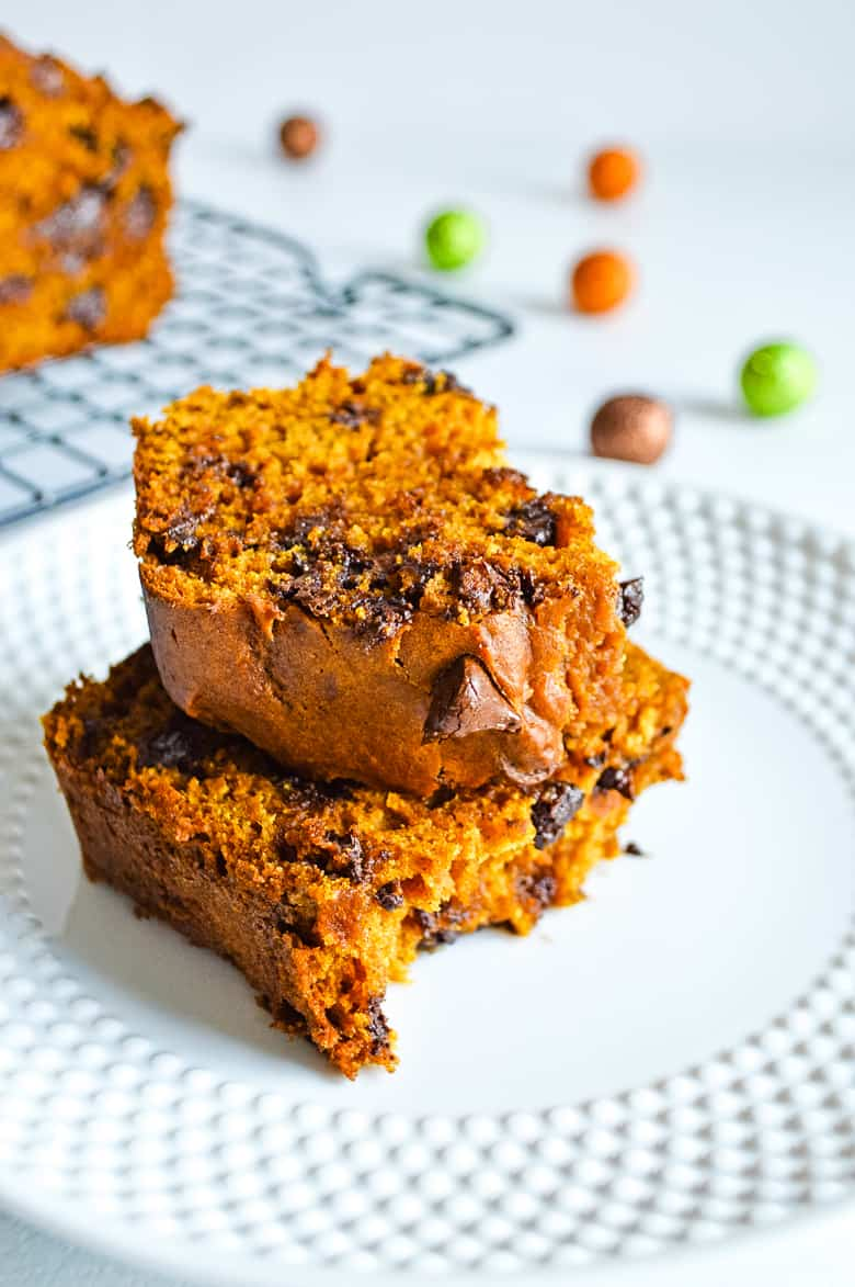plated pumpkin chocolate chip bread