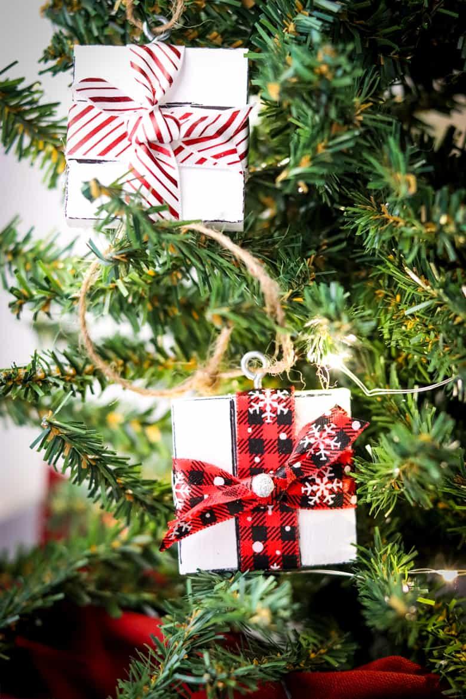 Dollar Tree Gift Box Ornaments on Tree