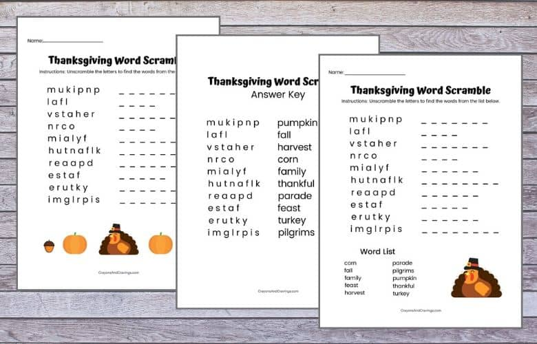 Thanksgiving Word Jumbles for Kids