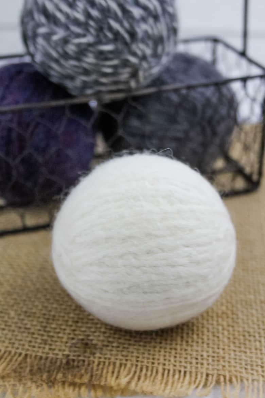 closeup of wool dryer balls