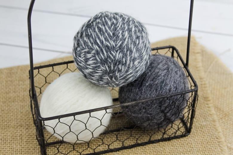 DIY dryer balls in basket