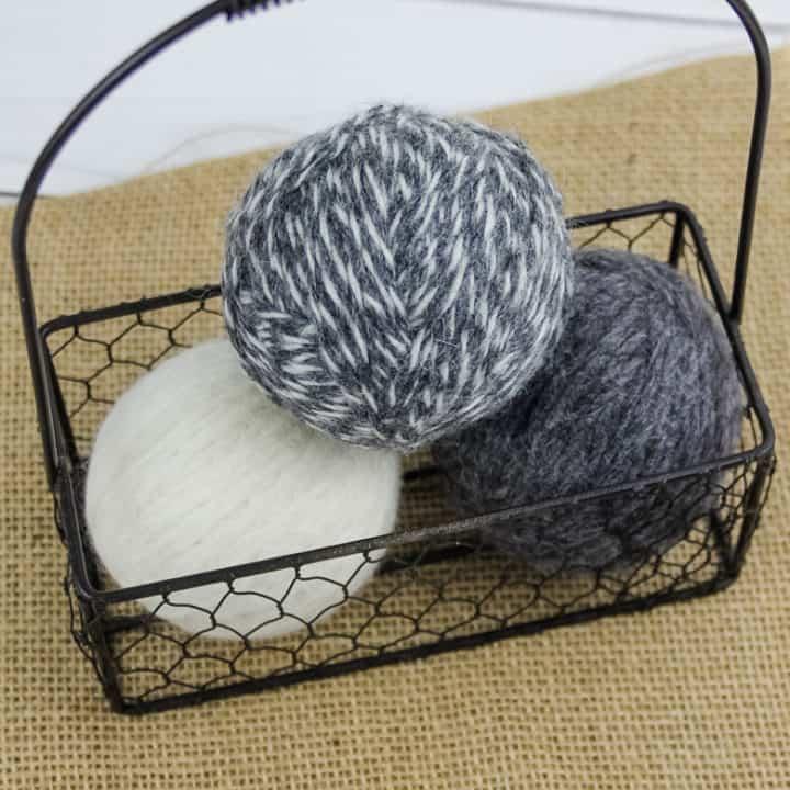 DIY wool dryer balls in basket