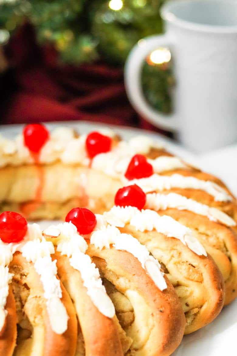 Swedish Tea Ring With Buttercream and Cherries