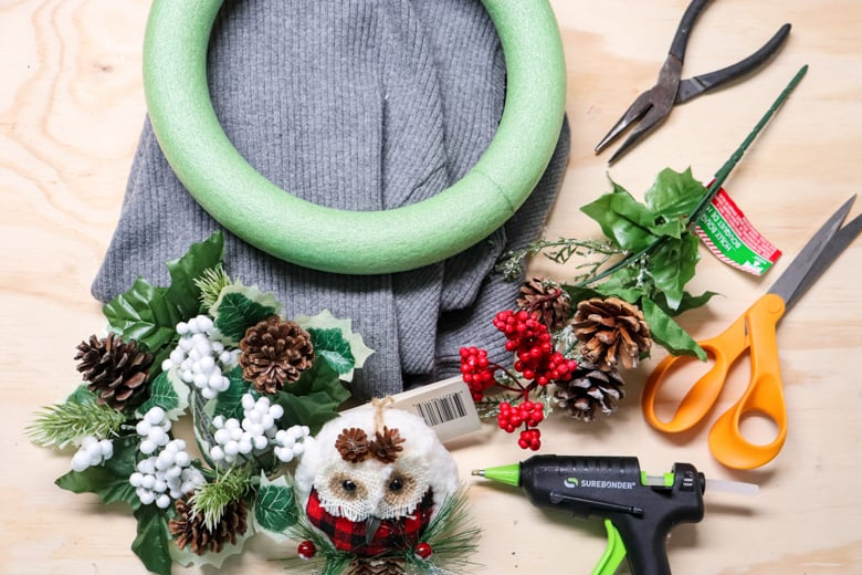 supplies for sweater wreath