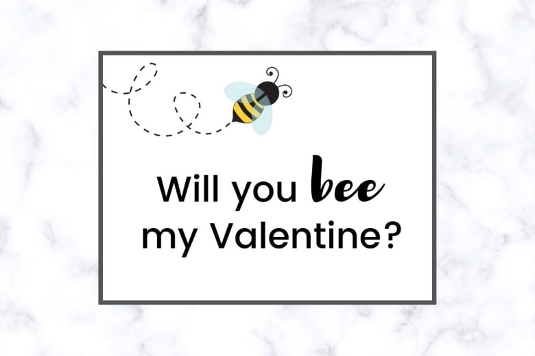 Bee Free Printable Valentine's Day Cards