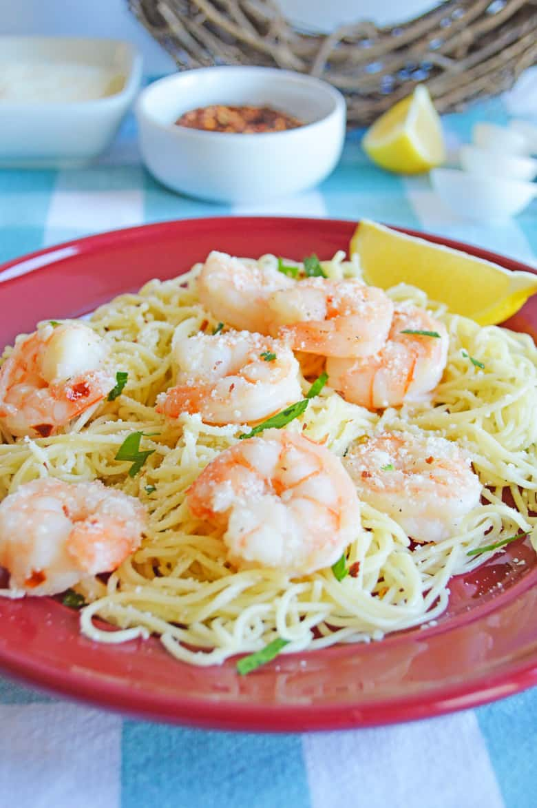 Garlic shrimp scampi pasta