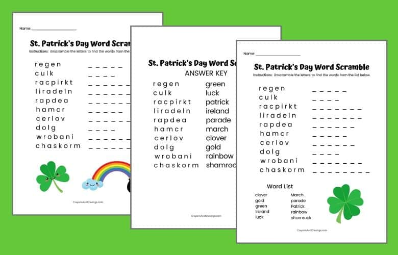 St. Patrick's Day Word Jumbles for Kids