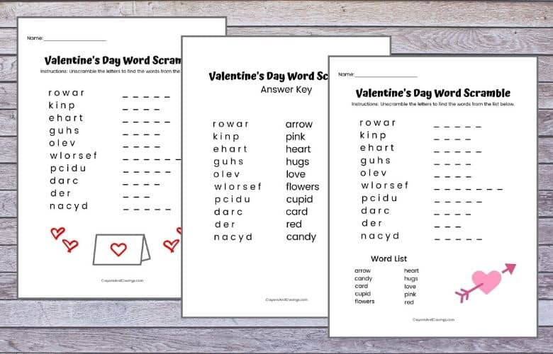 Valentine's Day Word Jumbles for Kids