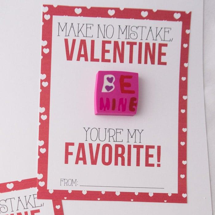 Eraser Classroom Valentines