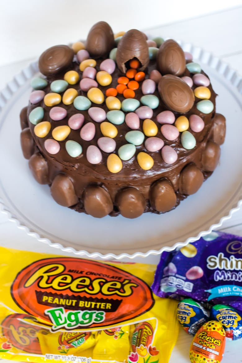 Chocolate Cake Topped with Easter Candy