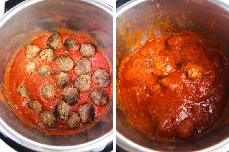 Meatballs with tomato sauce in the Instant Pot